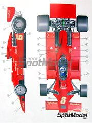 Tameo Kits: Model car kit 1/43 scale - Lotus Ford Type 78 John Player Special #6 - Gunnar Nilsson (SE) - Japan Grand Prix 1977 - photo-etched parts, turned metal parts, water slide decals, white metal parts and assembly instructions