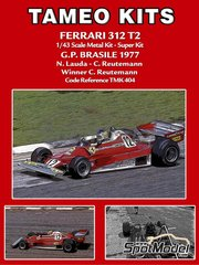 Tameo Kits: Model car kit 1/43 scale - Ferrari 312T2 Fiat #11, 12 - Niki Lauda (AT), Carlos Reutemann (AR) - Brazilian Grand Prix 1977 - photo-etched parts, turned metal parts, water slide decals, white metal parts and assembly instructions