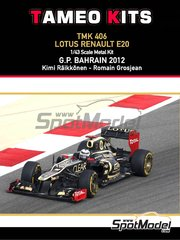 Tameo Kits: Model car kit 1/43 scale - Lotus Renault E20 Clear Total #9, 10 - Kimi Räikkönen (FI), Romain Grosjean (FR) - Bahrain Grand Prix 2012 - photo-etched parts, turned metal parts, water slide decals, white metal parts and assembly instructions