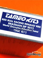 Tameo Kits: Model car kit 1/43 scale - RB Racing Renault RB8 - Sebastian Vettel (DE) - Brazilian Grand Prix 2012 - photo-etched parts, turned metal parts, water slide decals, white metal parts and assembly instructions