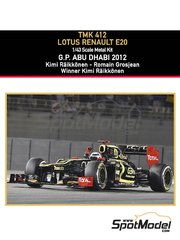 Tameo Kits: Model car kit 1/43 scale - Lotus Renault E20 Clear Total #9, 10 - Kimi Räikkönen (FI), Romain Grosjean (FR) - Abu Dhabi Grand Prix 2012 - photo-etched parts, turned metal parts, water slide decals, white metal parts and assembly instructions