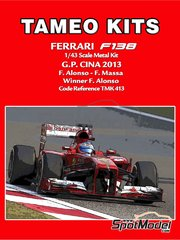 Tameo Kits: Model car kit 1/43 scale - Ferrari F138 F2013 Banco Santander #3, 4 - Fernando Alonso (ES), Felipe Massa (BR) - Chinese Grand Prix 2013 - photo-etched parts, turned metal parts, water slide decals, white metal parts and assembly instructions