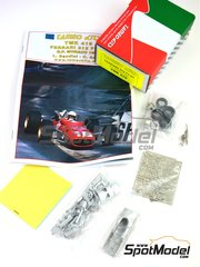 Tameo Kits: Model car kit 1/43 scale - Ferrari F1-67 #18, 20 - Lorenzo Bandini (IT), Chris Amon (NZ) - Monaco Formula 1 Grand Prix 1967 - photo-etched parts, rubber parts, turned metal parts, water slide decals, white metal parts and assembly instructions