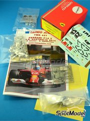 Tameo Kits: Model car kit 1/43 scale - Ferrari F14 T Banco Santander #7, 14 - Fernando Alonso (ES), Kimi Räikkönen (FI) - Australian Grand Prix 2014 - photo-etched parts, turned metal parts, water slide decals, white metal parts and assembly instructions image