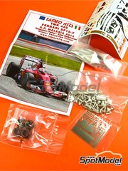 Tameo Kits: Model car kit 1/43 scale - Ferrari SF15-T Shell UPS #5, 7 - Sebastian Vettel (DE), Kimi Räikkönen (FI) - Malaysia Grand Prix 2015 - photo-etched parts, rubber parts, turned metal parts, water slide decals, white metal parts and assembly instructions image