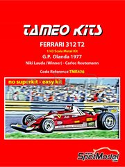 Tameo Kits: Model car kit 1/43 scale - Ferrari 312 T2 Agip #11 - Niki Lauda (AT), Carlos Reutemann (AR) - Dutch Formula 1 Grand Prix 1977 - photo-etched parts, rubber parts, vacuum formed parts, water slide decals, white metal parts, assembly instructions and painting instructions