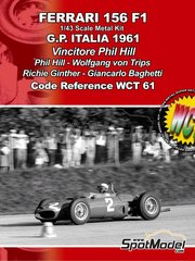 Tameo Kits: Model car kit 1/43 scale - Ferrari 156 F1 #2, 4, 6, 32 - Phil Hill (US), Wolfgang von Trips (DE), Richie Ginther (US), Giancarlo Baghetti (IT) - Italian Grand Prix 1961 - photo-etched parts, turned metal parts, water slide decals, white metal parts and assembly instructions