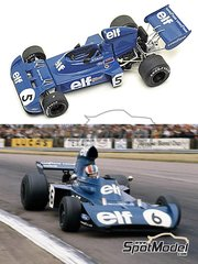 Tameo Kits: Model car kit 1/43 scale - Tyrrell Ford 006 ELF #5, 6 - Sir John Young 'Jackie' Stewart (GB) - Italian Grand Prix 1973 - photo-etched parts, turned metal parts, water slide decals, white metal parts and assembly instructions