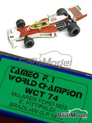 Tameo Kits: Model car kit 1/43 scale - McLaren Ford M23 Texaco #5 - Emerson Fittipaldi (BR) - Brazilian Grand Prix 1974 - photo-etched parts, turned metal parts, water slide decals, white metal parts and assembly instructions