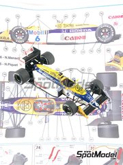 Tameo Kits: Model car kit 1/43 scale - Williams Honda FW11b Canon #5, 6 - Nelson Piquet (BR), Nigel Ernest James Mansell (GB) - Hungary Grand Prix 1987 - photo-etched parts, turned metal parts, water slide decals, white metal parts and assembly instructions