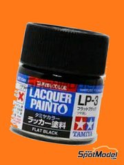 Tamiya: Lacquer paint - Flat black LP-3 - 1 x 10ml