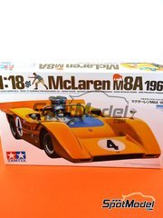 Tamiya: Model car kit 1/18 scale - McLaren M8A Gulf #4, 5 - Bruce McLaren (NZ), Denis Clive 'Denny' Hulme (NZ) - Can-Am 1968 - plastic parts, water slide decals and assembly instructions