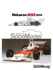 Tamiya: Model car kit 1/12 scale - McLaren M23 Texaco #5, 6 - Emerson Fittipaldi (BR), Denis Clive 'Denny' Hulme (NZ) - World Championship 1974