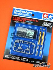 Tamiya: Front fork set 1/12 scale - Yamaha YZR M1 - FIA Formula 1 World Championship 2004 - CNC metal parts, photo-etched parts, plastic parts and turned metal parts - for Tamiya references TAM14098 and TAM14100