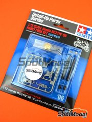 Tamiya: Front fork set 1/12 scale - Honda RC211V 2006 - plastic parts, turned metal parts, other materials and assembly instructions - for Tamiya references TAM14106, 14106, TAM14107, 14107, TAM14108 and 14108