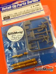 Tamiya: Front fork set 1/12 scale - Ducati 1199 Panigale S - CNC metal parts, plastic parts, turned metal parts and assembly instructions - for Tamiya references TAM14129 and TAM14132