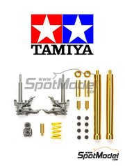 Tamiya: Front fork set 1/12 scale - Front Fork and Rear Dumper Honda RC213V 2014 - CNC metal parts, plastic parts, turned metal parts and assembly instructions - for Tamiya references TAM14130 and 14130