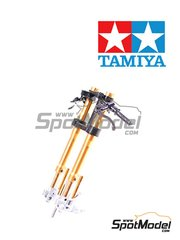 Tamiya: Front fork set 1/12 scale - Yamaha YZF-R1M - metal parts, plastic parts, turned metal parts, assembly instructions and painting instructions - for Tamiya reference TAM14133