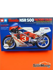 Tamiya: Model bike kit 1/12 scale - Honda NSR500 Honda Racing Corporation #3 - plastic parts, rubber parts, water slide decals, assembly instructions and painting instructions