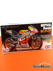 Tamiya: Model bike kit 1/12 scale - Honda RC213V Repsol #93 - Marc Márquez (ES) - Spanish Moto GP Grand Prix 2014 - paint masks, plastic parts, rubber parts, water slide decals, other materials and assembly instructions