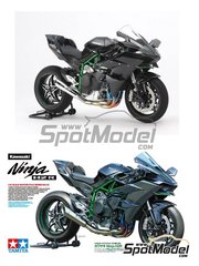 Tamiya: Model bike kit 1/12 scale - Kawasaki Ninja H2R - plastic parts, rubber parts, water slide decals, other materials and assembly instructions image