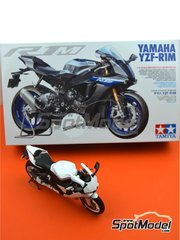 Tamiya: Model bike kit 1/12 scale - Yamaha YZF-R1M - metal parts, plastic parts, rubber parts, water slide decals, assembly instructions and painting instructions