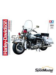 Tamiya: Model bike kit 1/6 scale - Harley-Davidson FLH 1200 Police - plastic parts, rubber parts, water slide decals and assembly instructions image