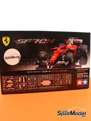 Tamiya: Model car kit 1/20 scale - Ferrari SF70H Banco Santander #5, 7 - Sebastian Vettel (DE), Kimi Räikkönen (FI) - Australian Grand Prix 2017 - paint masks, plastic parts, rubber parts, water slide decals, assembly instructions and painting instructions image