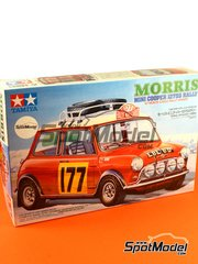 Tamiya: Model car kit 1/24 scale - Mini Cooper 1275S Rally Mk I #177 - Montecarlo Rally 1967 - plastic model kit