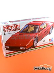 Tamiya: Model car kit 1/24 scale - Ferrari Testarossa 1984 - plastic parts, rubber parts, water slide decals, assembly instructions and painting instructions