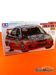 Tamiya: Model car kit 1/24 scale - Mitsubishi Lancer Evolution V WRC Michelin #1, 2 - Timo Mäkinen (FI) + Risto Mannisenmäki (FI) - Catalunya Costa Dorada RACC Rally 1998 - plastic parts, water slide decals and assembly instructions