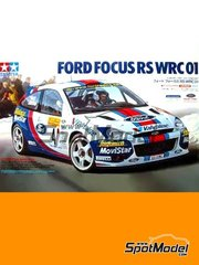 Tamiya: Model car kit 1/24 scale - Ford Focus RS WRC Telefonica Movistar #4 2001 - plastic parts, rubber parts, water slide decals, assembly instructions and painting instructions