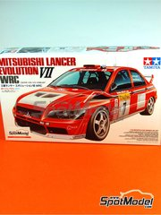 Tamiya: Model car kit 1/24 scale - Mitsubishi Lancer Evo VII Ralli Art #7 - Colin McRae (GB) + Francois Delecour (FR) - FIA WRC World Rally Championship 2001 and 2002 - plastic model kit