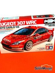 Tamiya: Maqueta de coche escala 1/24 - Peugeot 307 WRC Clarion Total Nº 7 - Marcus Grönholm (FI), Timo Rautiainen (FI) - Rally de Montecarlo 2005 - piezas de metal, piezas de plástico, calcas de agua y manual de instrucciones
