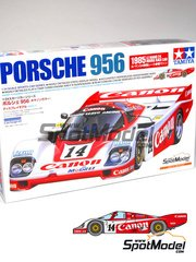 Tamiya: Model car kit 1/24 scale - Porsche 956 Canon #14 - Jonathan Palmer (GB) + James Weaver (GB) + Richard Lloyd (GB) - 24 Hours Le Mans 1985 - plastic parts, water slide decals and assembly instructions