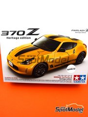 Tamiya: Model car kit 1/24 scale - Nissan 370Z Fairlady Z Heritage edition - plastic parts, rubber parts, water slide decals, assembly instructions and painting instructions