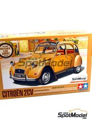 Tamiya: Model car kit 1/24 scale - Citroën 2CV - plastic parts, rubber parts, water slide decals, assembly instructions and painting instructions image