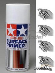 Tamiya: Primer - Fine Surface Primer 180 ml Spray - White - for plastics, resins, photo-etched parts or even white metal