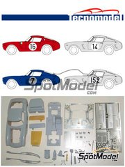 Tecnomodel: Model car kit 1/24 scale - Ferrari 250 SWB - 24 Hours Le Mans, Tour de France Automobile 1961 and 1962 - resin multimaterial kit