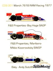 This Way Up: Decals 1/43 scale - March Ford 761B Marlboro F&S Properties Baty #32, 33 - Boy Hayje (NL), Mikko Kozarowitzky (FI), Andy Sutcliffe (GB) - British Grand Prix, South African Grand Prix, Swedish Grand Prix 1977 - for Tameo Kits references TMK235 and TMK271 image