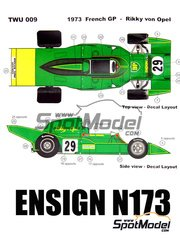 This Way Up: Model car kit 1/43 scale - Ensign Ford N173 BP #29 - Rikky von Opel (LI) - French Grand Prix 1973 - photo-etched parts, turned metal parts, water slide decals, white metal parts and assembly instructions