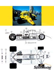 This Way Up: Model car kit 1/43 scale - Fittipaldi F7 Skol #20 - Emerson Fittipaldi (BR) - Monaco Grand Prix, USA West Long Beach Grand Prix 1980 - photo-etched parts, turned metal parts, water slide decals, white metal parts and assembly instructions image