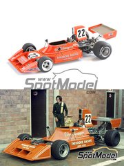 This Way Up: Model car kit 1/43 scale - Ensign Ford N174 #22 - Vern Schuppan (AU) - Belgian Grand Prix 1974 - photo-etched parts, turned metal parts, water slide decals, white metal parts and assembly instructions
