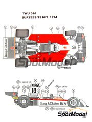 This Way Up: Model car kit 1/43 scale - Surtees TS16-2 Bang and Olufsen Matchbox Heuer Beolab #18 - Carlos Pace (BR) - Spanish Grand Prix, South African Grand Prix 1974 - photo-etched parts, turned metal parts, water slide decals, white metal parts and assembly instructions
