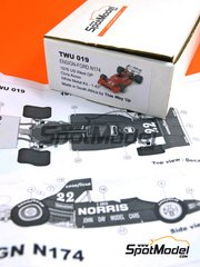 This Way Up: Model car kit 1/43 scale - Ensign Ford N174 Norris #22 - Chris Amon (NZ) - USA West Long Beach Grand Prix 1976 - photo-etched parts, turned metal parts, water slide decals, white metal parts and assembly instructions