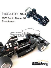 This Way Up: Model car kit 1/43 scale - Ensign Ford N174 Norris Valvoline #22 - Chris Amon (NZ) - South African Grand Prix 1976 - photo-etched parts, turned metal parts, water slide decals, white metal parts and assembly instructions