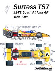 This Way Up: Model car kit 1/43 scale - Surtees TS7 Team Gunston #27 - John Love (ZW) - South African Grand Prix 1972 - photo-etched parts, turned metal parts, water slide decals, white metal parts and assembly instructions