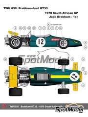 This Way Up: Model car kit 1/43 scale - Brabham Ford BT33 #12 - Jack Brabham (AU) - South African Grand Prix 1970 - photo-etched parts, turned metal parts, water slide decals, white metal parts and assembly instructions