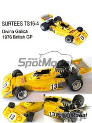 This Way Up: Model car kit 1/43 scale - Surtees TS16-4 Rolatruc Shell #13 - Divina Galica (GB) - British Grand Prix 1976 - photo-etched parts, turned metal parts, water slide decals, white metal parts and assembly instructions image