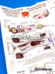 This Way Up: Model car kit 1/43 scale - Parnelli VPJ4B #27 - Mario Andretti (US) - South African Grand Prix, USA West Long Beach Grand Prix 1976 - photo-etched parts, turned metal parts, water slide decals, white metal parts and assembly instructions